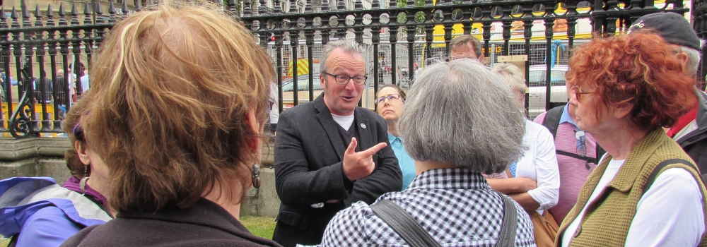 Scenes from the Rebel Road: Lorcan Collins leading his Easter Rebellion Tour