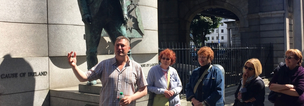 Scenes from the Rebel Road: Writer Conor McNamara conducting Dublin Historical Walking Tour